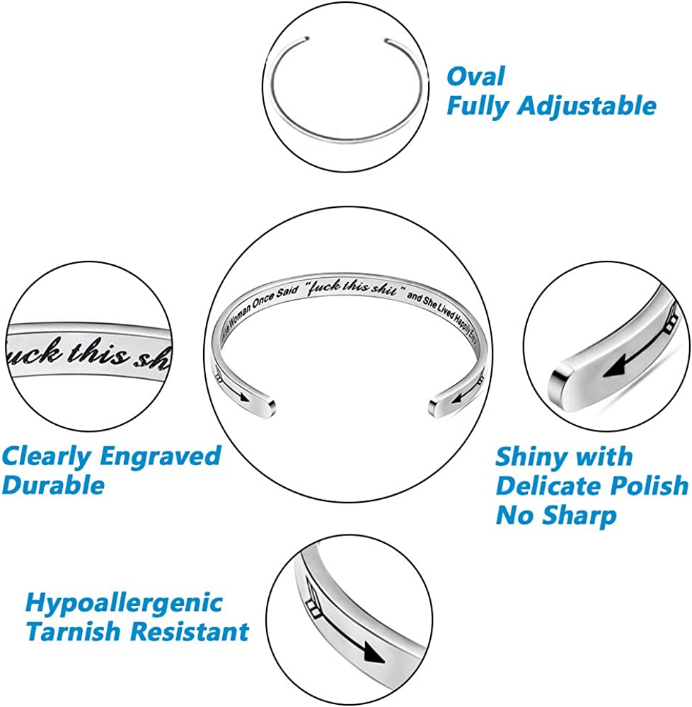 Stainless Steel Bracelet for Teen Girls Her Friendship Sister Graduation Inspirational Gifts Cuff Bracelet for Women Bangle with Personalized Jewelry Engraved Mantra Quote Birthday Gift for mom