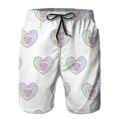MBSP Crazy Heart Men's Beach Shorts Quick Dry Swim Shorts Casual Board Shorts