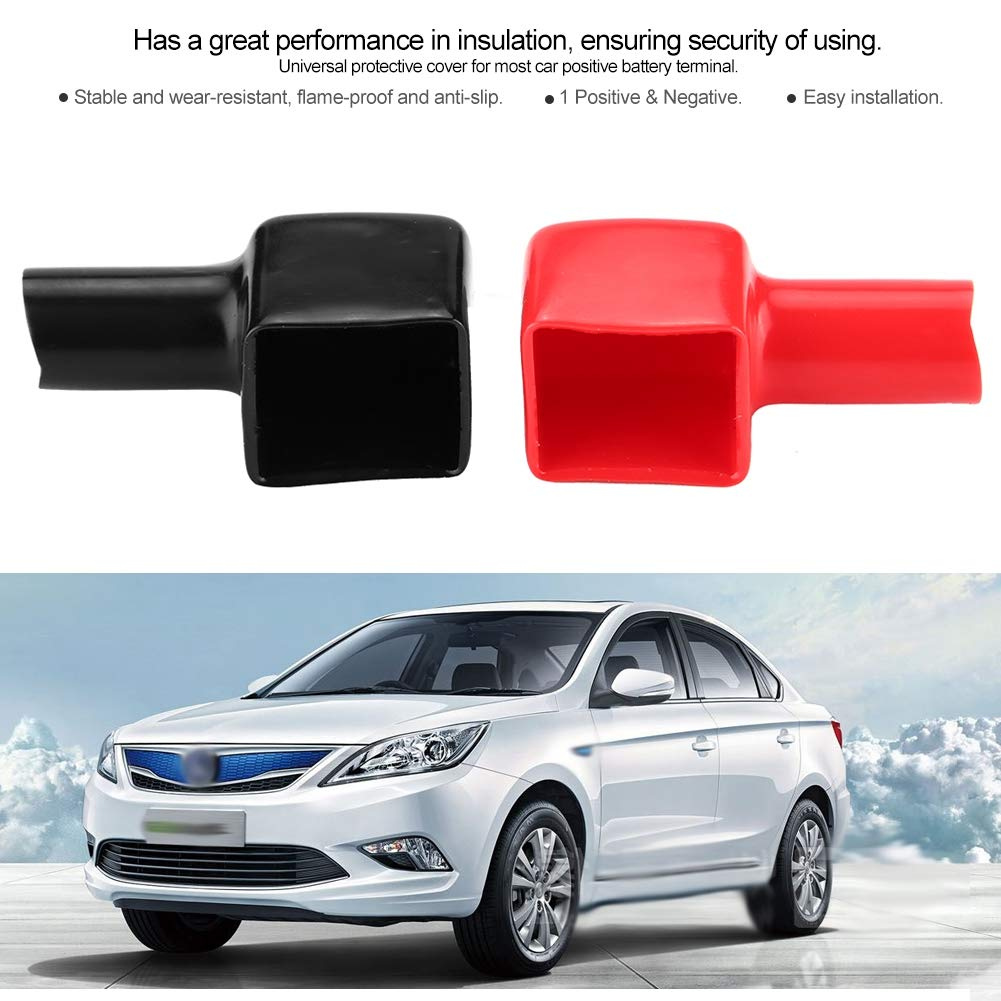 2 Pieces Car Universal Plastic Battery Terminal Insulating Protector Covers