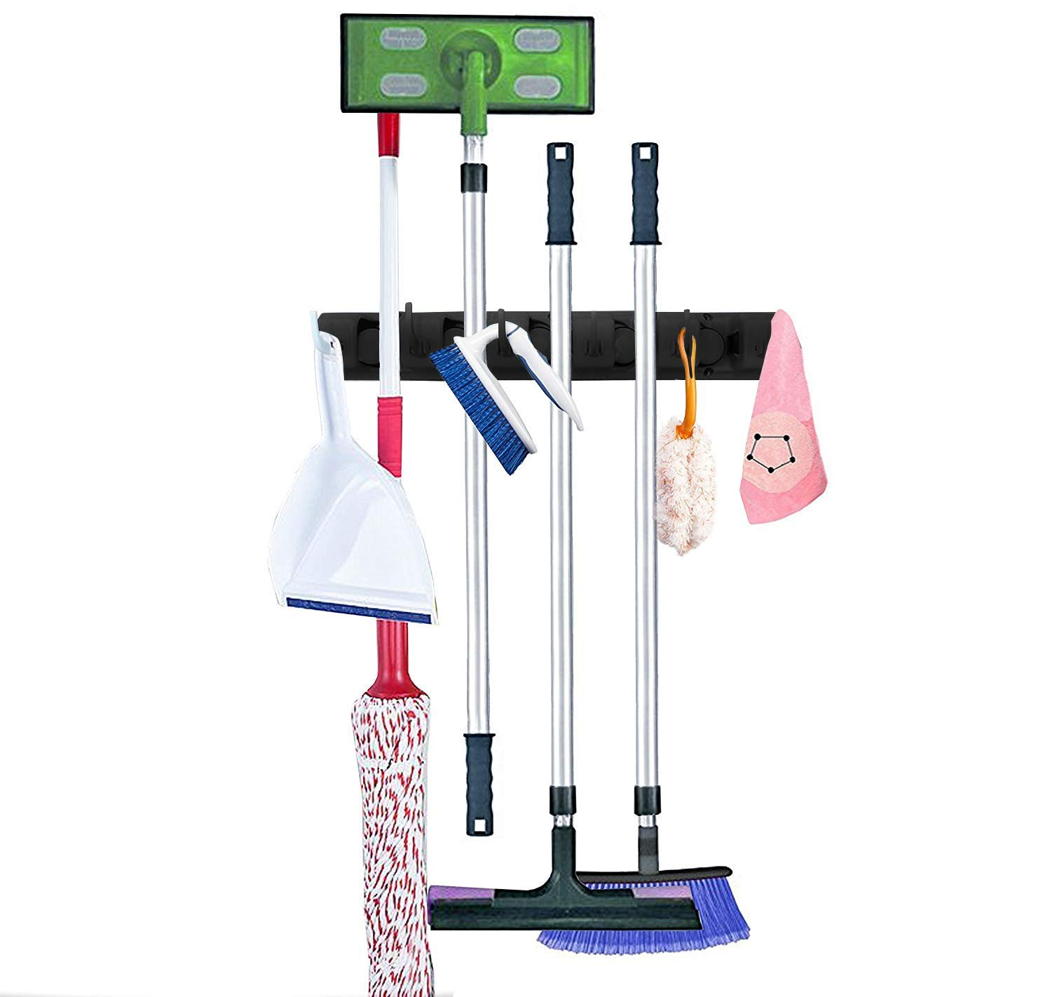 Melvado Broom and Mop Wall Mount Storage Holder Organizer – Hooks for Mops, Brooms, Sports Equipment, Garage Tools – 6 Non-Slip Slots and Extra Hanging Hooks – 35 Pound Capacity