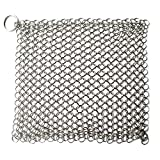 Umiwe Basics Cast Iron Cleaner 8x6 Inch Stainless Steel Chainmail Scrubber Skillet Cleaner with Ring(Silver)
