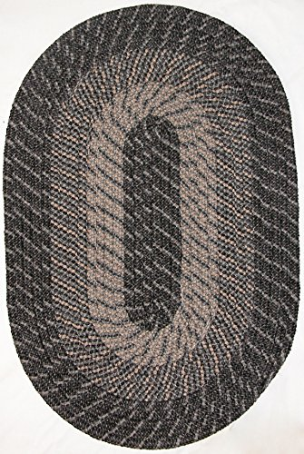 Constitution Rugs Plymouth Braided Rug in Kona Charcoal 5 x 8 60 x 96