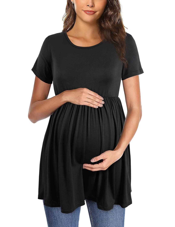 PrettyLife Womens Flattering Maternity Tops Comfy Short Sleeve Pleated Pregnancy Shirt