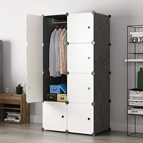 KOUSI Wardrobes for Clothes Wardrobe Black Wardrobe Closets for Bedroom  Portable Closet Wardrobe Closet Bedroom Armoire Dresser (Black (White  Door), 5 ...