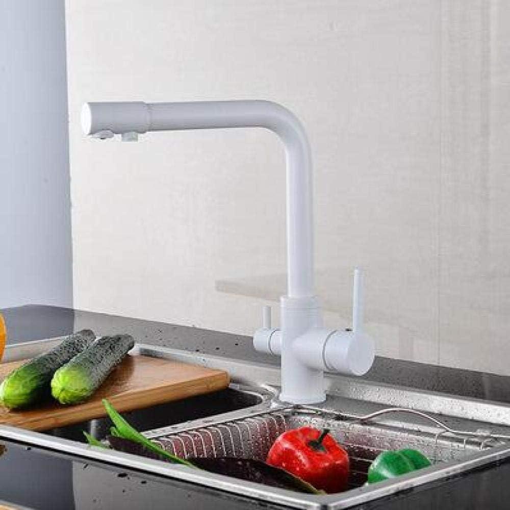 Natteg Más Color Latón Mármol Pintura Giratoria Grifo de Agua Potable Filtro de Agua de 3 vías Purificador Grifo de Cocina@Blanco_Federación Rusa: Amazon.es: Hogar