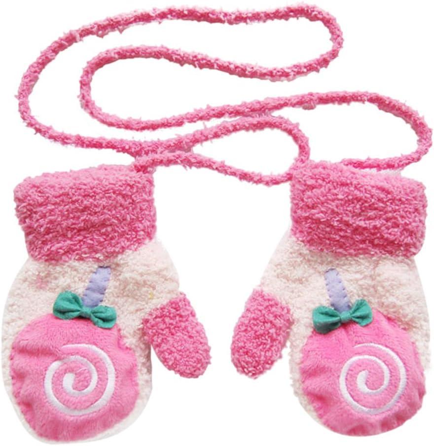 con foglia in peluche Cosanter di peluche Muffole per bambini e bambine invernali rosa Rosa