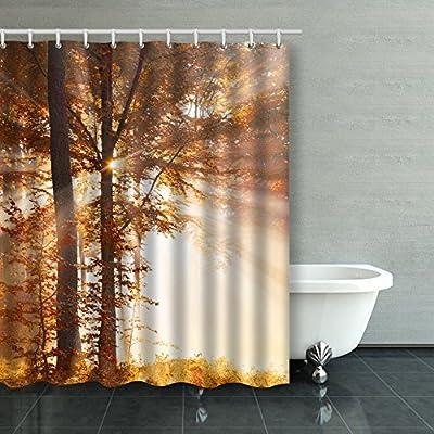 emvency cortina de ducha impermeable otoño amanecer en bosque ...