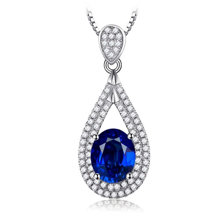 Womens Necklaces by CS-DB 3.5ct Oval Sapphire Blue Geometric Gem Girls Silver Pendants