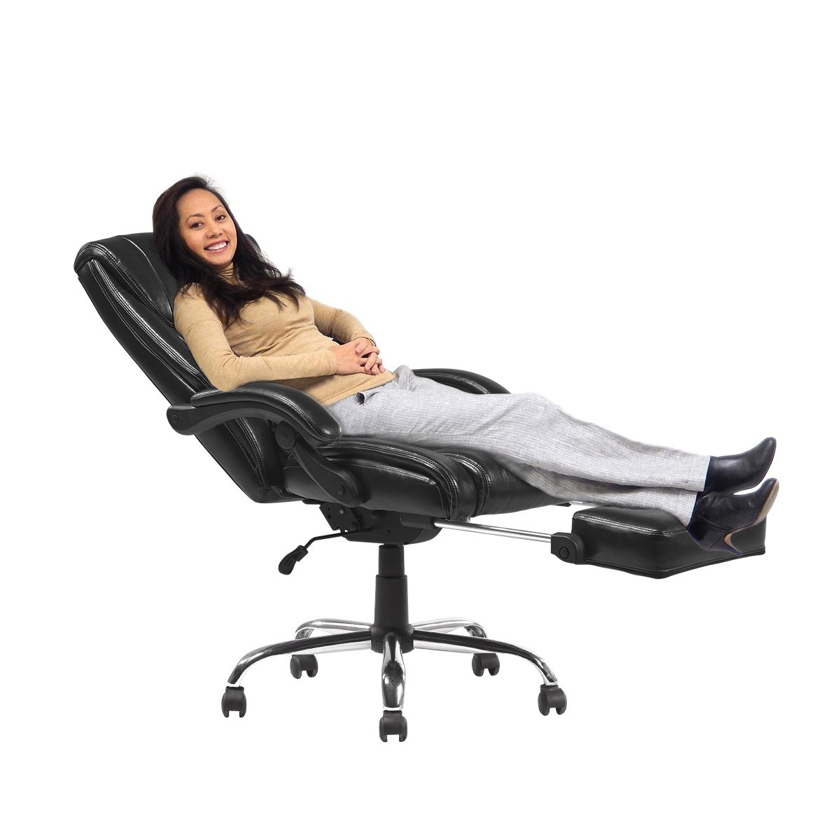 YAMASORO Reclining Office Chair High Back ,Ergonomic Design Computer Napping Chair Leather with Footrest Thick Padding for Lumbar Support