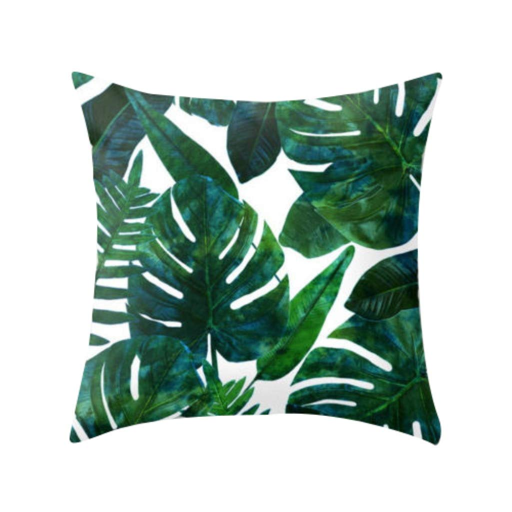Pillow case Protector,EOWEO Tropical Plant Polyester Pillowcase Sofa Throwing pad Set Home Decoration