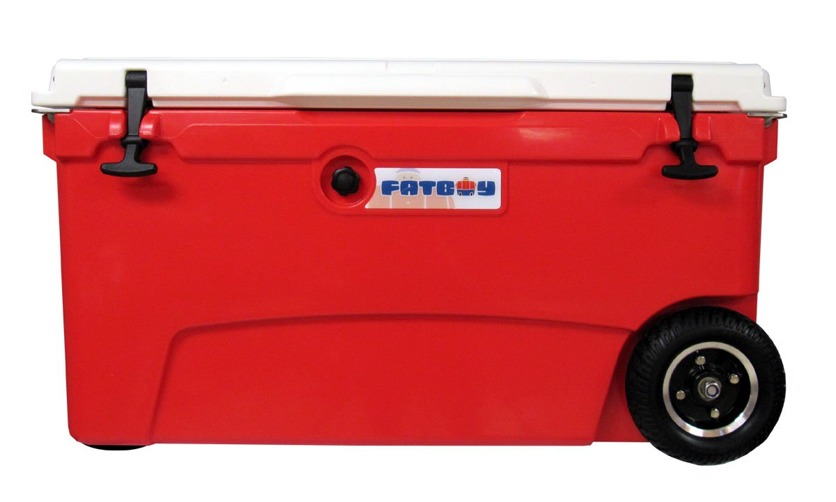 Fatboy 70QT Rotomolded Wheeled Chest Ice Box Cooler Red White