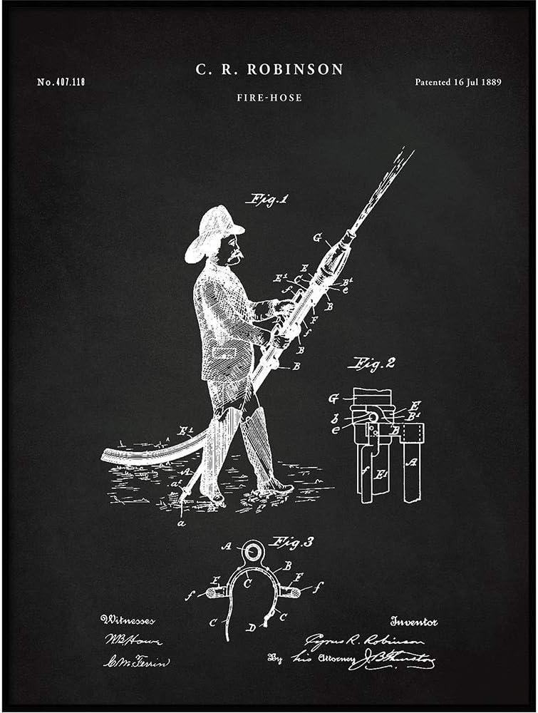 Fire Hose Patent, Fireman Poster, Firefighter Print, Firefighting Blueprint Wall Art, Fireman Gift, Fire House Decor, Vintage Art, QP696