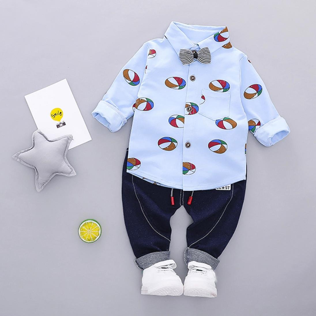 WARMSHOP 2 PC Outfits for Toddler Boys Bow Tie Full Sleeve Airballoon Pattern Tops Shirt Tee+Solid Elastic Pants