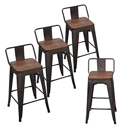 Andeworld Set Of 4 Tolix Style Counter Height Bar Stools Industrial Metal Bar Stools Indoor Outdoor Low Back 26 Inch Rusty With Wooden Top