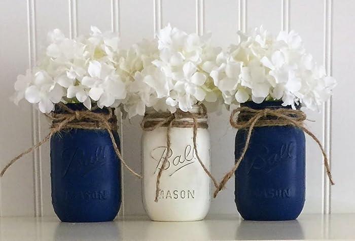 Amazon Com Mason Jar Set 3 Piece Blue And White Nautical