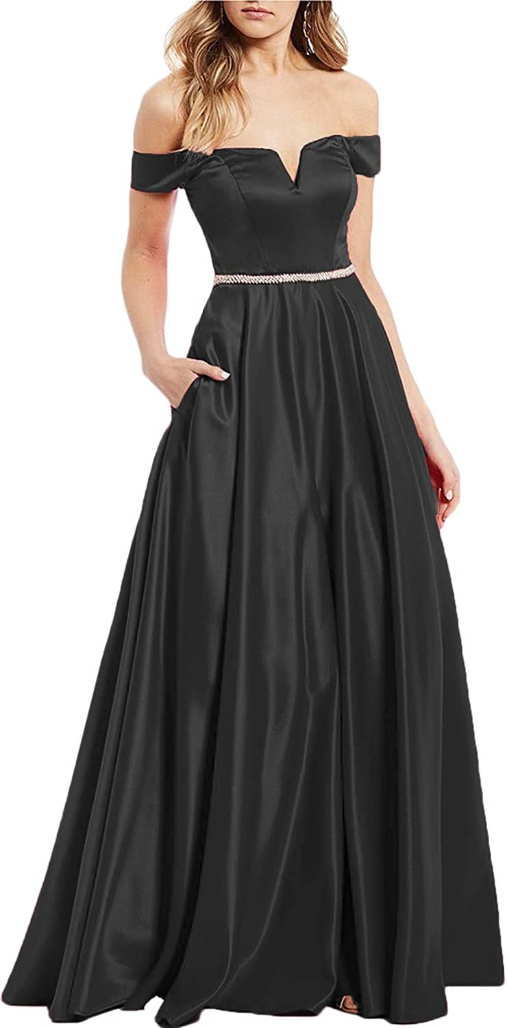 Black Rmaytiked Off The Shoulder Beaded Prom Dresses Long 2019 Satin A Line Formal Evening Ball Gowns with Pockets
