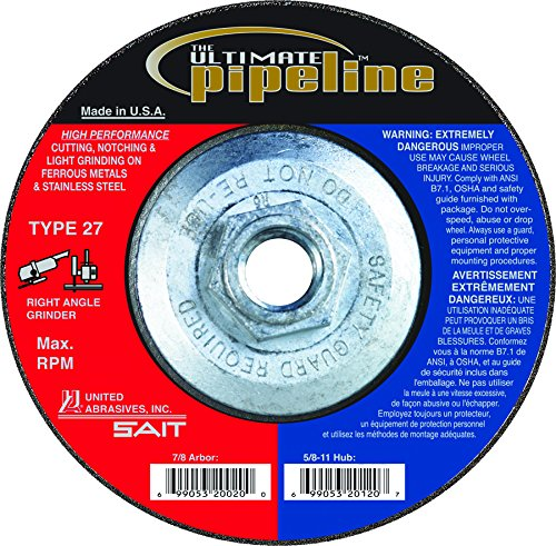 United Abrasives-SAIT 20120 Ultimate Pipeline Cutting, Notching and Light Grinding Wheel on Stainless Steel with 4-1/2