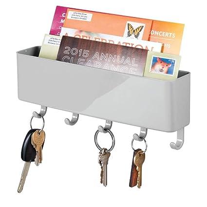 mDesign Portallaves de Pared de plástico con repisa – Organizador de Cartas y Llaves Moderno – Práctico Organizador de Llaves para el recibidor o la ...