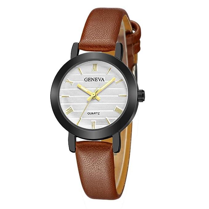 DressLksnf_Reloj Lujo Moda de Mujer Pulsera Deportiva Banda de Cuero Reloj Cadena Ajuste Color Puro Simple Acero Inoxidable Durable Digital Clásico: ...