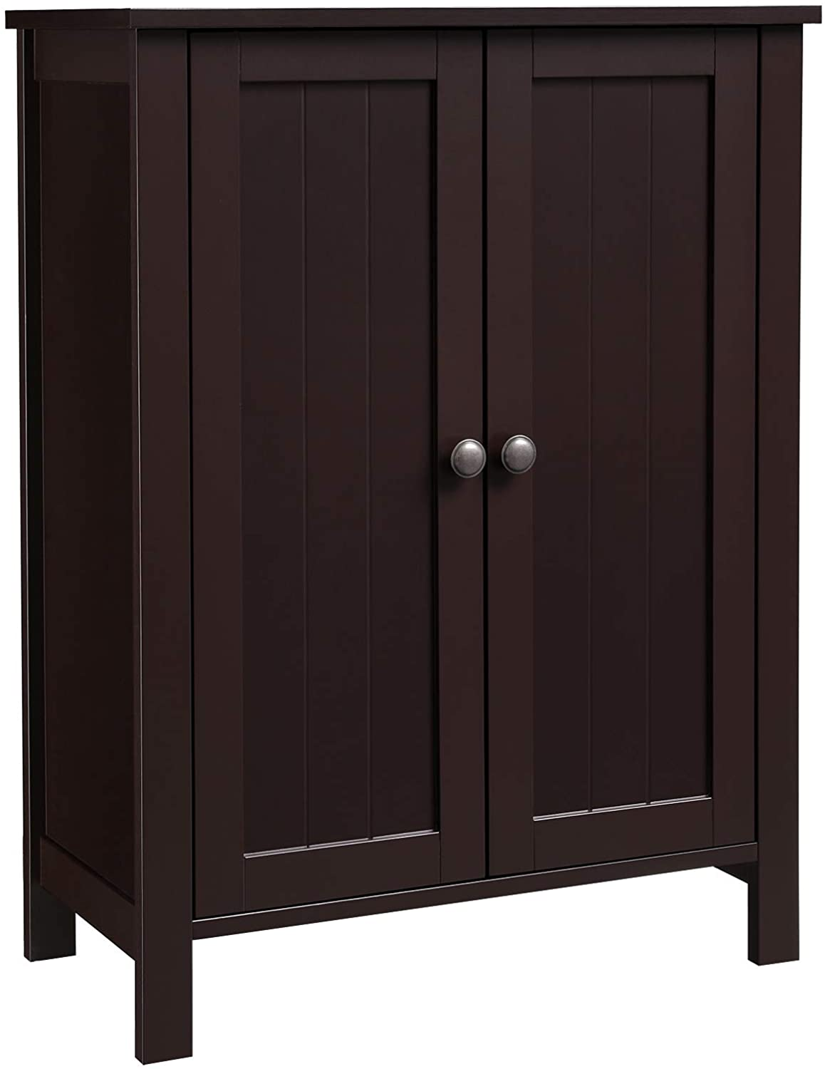 "VASAGLE Bathroom Floor Storage Cabinet with Double Door Adjustable Shelf, 23.6""L x 11.8""W x 31.5""H, Brown UBCB60BR"