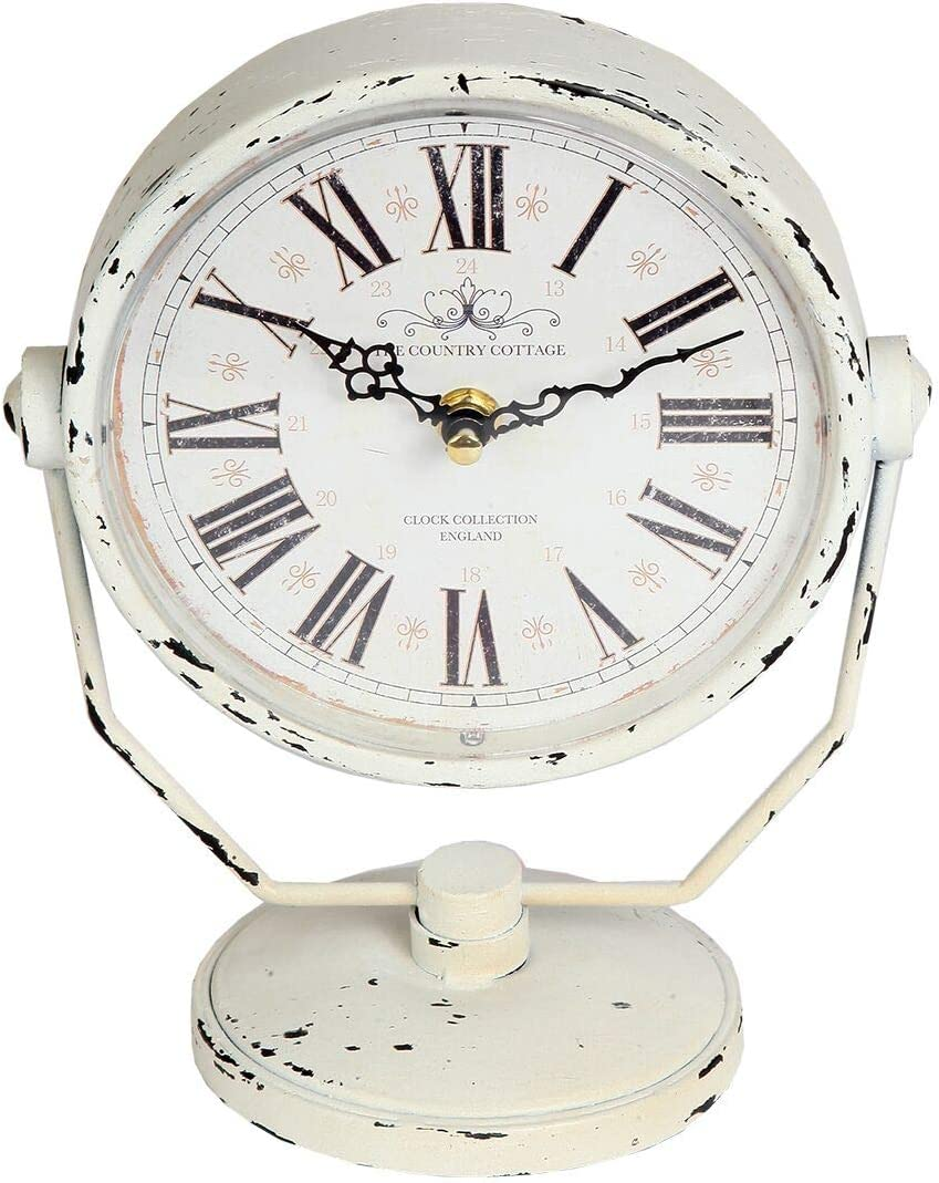 Lily s Home Antique Inspired Decorative Mantle Clock with Large Roman Numerals, Battery Powered with Quartz Movement, Fits with Victorian or Antique D cor Theme, White