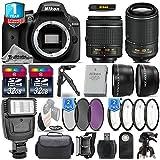 Holiday Saving Bundle for D3400 DSLR Camera + 18-55mm VR Lens + 55-200mm VR II Lens + 0.43X Wide Angle Lens + 2.2x Telephoto Lens + Flash + 64GB Storage + 2 Of UV-CPL-FLD - International Version