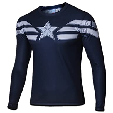 f763a4fe7ef2 Amazon.com: Carin Men's Captain Winter Solider Long sleeve T-shirt: Clothing