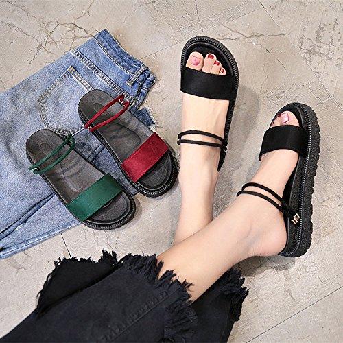 ITTXTTI Mujer Libre Dos Gruesa Vestir Rojo Zapatillas Sandalias Aire al Mujer para 5 rojo de Suela para ErAwE6cOq