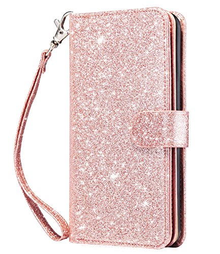 Dailylux iPhone 5S Cases,iPhone SE Case,iPhone 5 Wallet Case Pu Leather +TPU Magnet Wallet Flip Case with Built-in Card Slots Stand Holder Folio Cover for iPhone 5/5S/SE-Sparkle Rose Gold ()