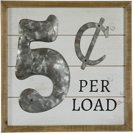 Open...laundry Fluff /& Fold 5 Cents Load Vintage Look Framed Wood Sign Black...
