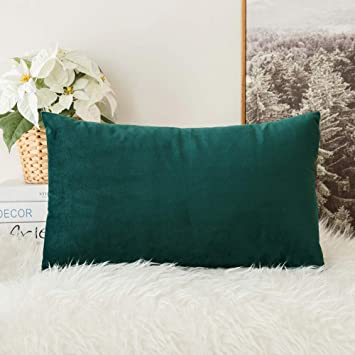 MIULEE Velvet Soft Soild Decorative Square Throw Pillow Covers Teal Cushion Case for Sofa Bedroom Car 12 x 20 Inch 30 x 50 cm