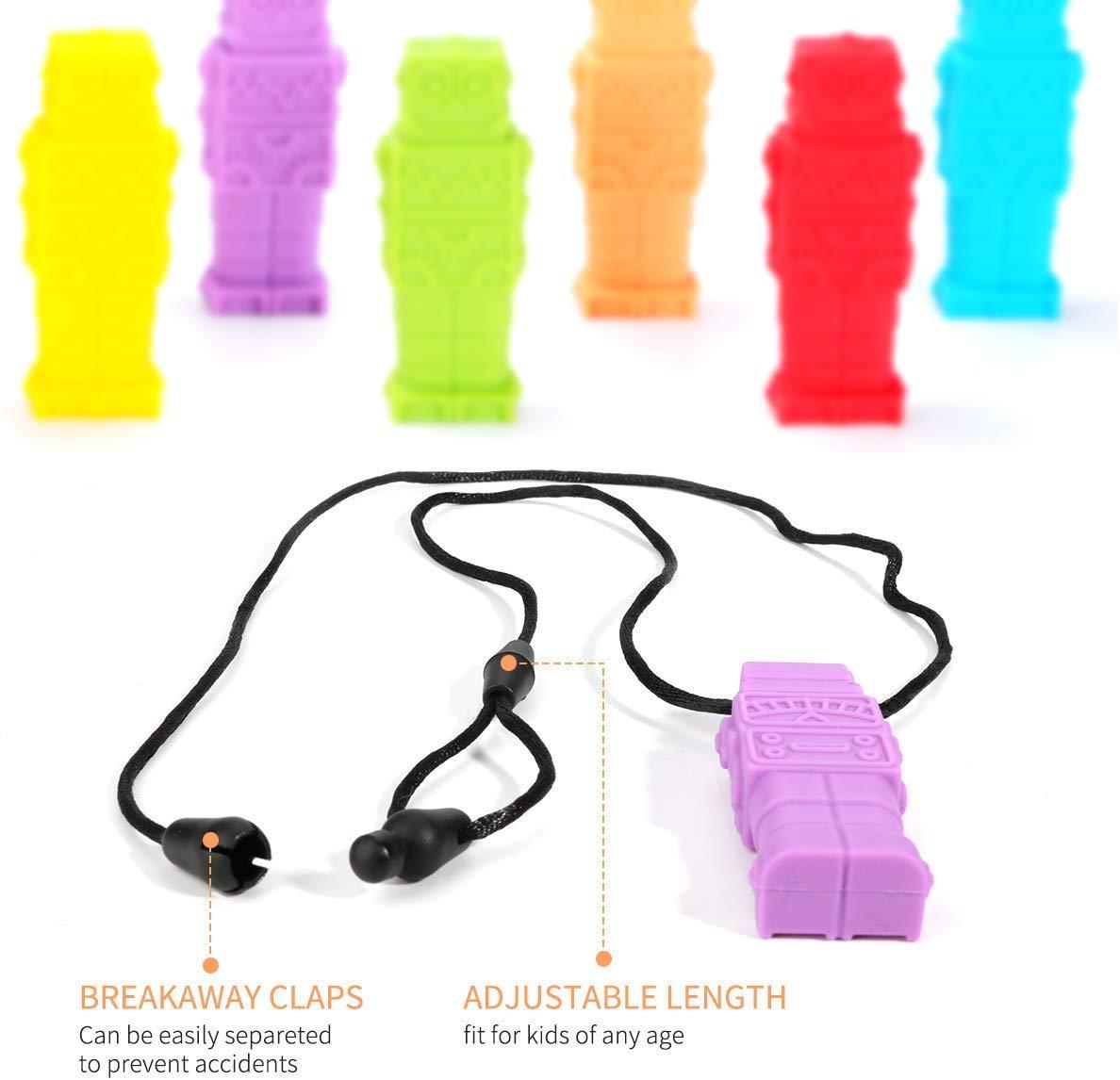 Achort Robot sensorische Kau-Halsketten 6 St/ück Kau-Anh/änger Bei/ßring Halskette Schmuck Silikon Wasserdicht Lindert Stress Angstzust/änden Verbesserung der Konzentration Entwicklung