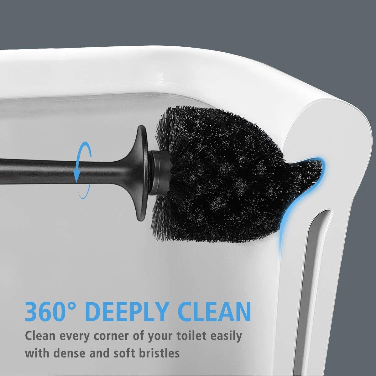Modern Design Toilet Brush and Holder 2 Pack, Toilet Bowl Brush for Your Bathroom Toilet (Black)