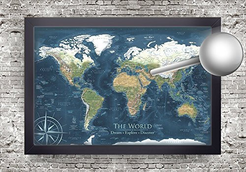Voyager 2 World Pin Map with Elevation and Terrain with Aged Edge Effects, Framed Wall Map or Pin Map, Modern World Map | Personalized Map, includes 100 map pins. - Personalized World Map With Pins