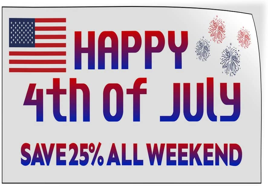 Custom Door Decals Vinyl Stickers Multiple Sizes Happy 4Th of July White Save Percentage Business Sale Outdoor Luggage /& Bumper Stickers for Cars White 24X18Inches Set of 10