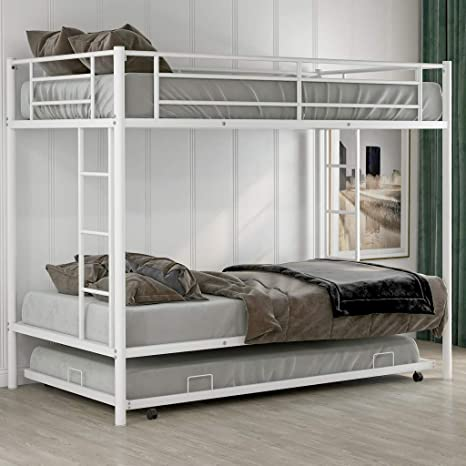 Amazon Com Metal Twin Over Twin Bunk Beds With Trundle Bed Twin Bunk Beds For Kids No Box Spring Required Kitchen Dining