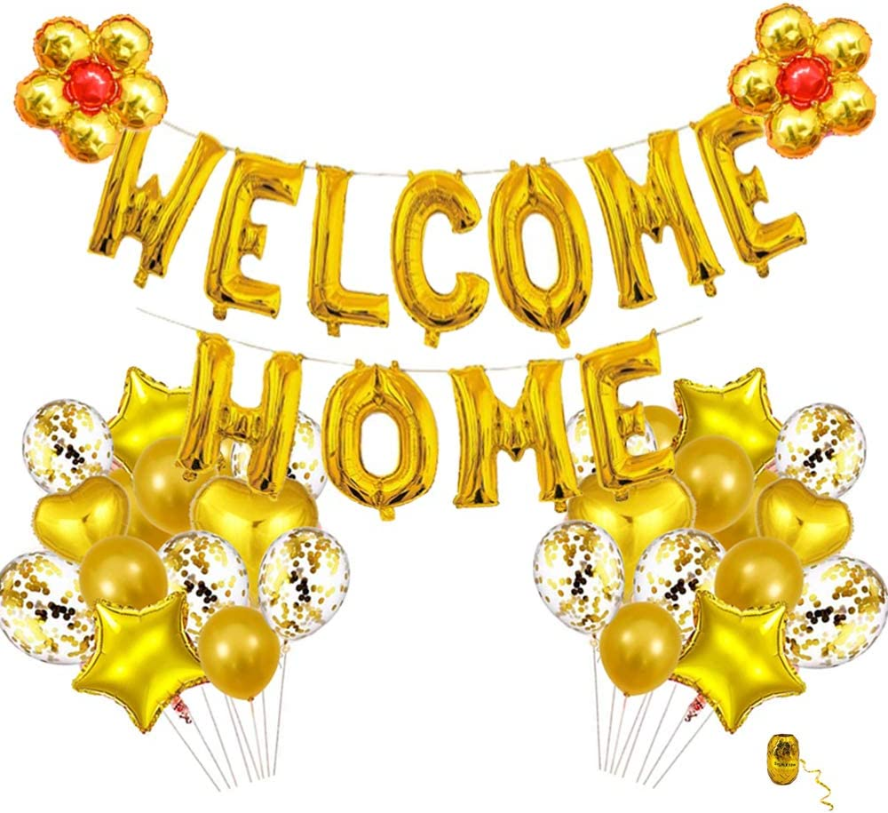 Welcome Home Decorations, Gold Welcome Home Balloon with Star heart flower Sequin Balloons for Home Family Party Decorations