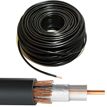 Amazon.com: 50M Black RG6 Coaxial Cable - Copper - Aerial Satellite Freeview Wire Reel Drum: Home Audio & Theater
