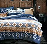 Bohemian Duvet Cover Striped Ethnic Boho Reversible Southwestern 400TC Cotton King Size Bedding 3pc Set Navy White Orange Modern Geo Aztec Print (King, Tangerine)