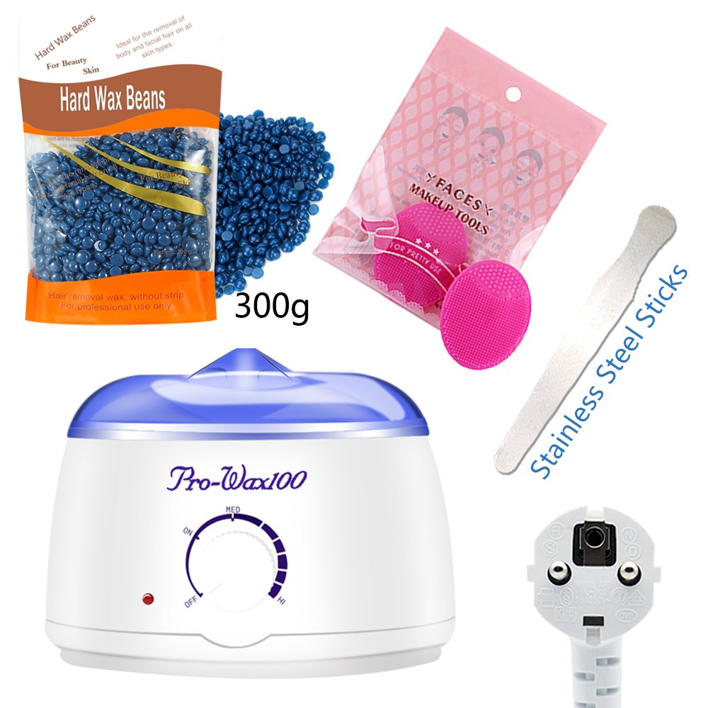 Hair Removal Waxing Kit, Valentine's gife,500 ml Electric Wax Warmer + 1 Packs of Hair Removal Hard Wax Beans 300g + 1 Stainless Steel Applicator Sticks+Silicone Facial Brush Noneon