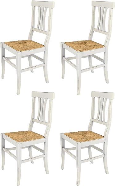 Tommychairs Set 4 Sedie Modello Artemisia Per Cucina Bar E Sala Da Pranzo Dallo Stile Shabby Chic Robusta Struttura In Legno Di Faggio Anticata Artigianalmente A Mano E Seduta In Paglia