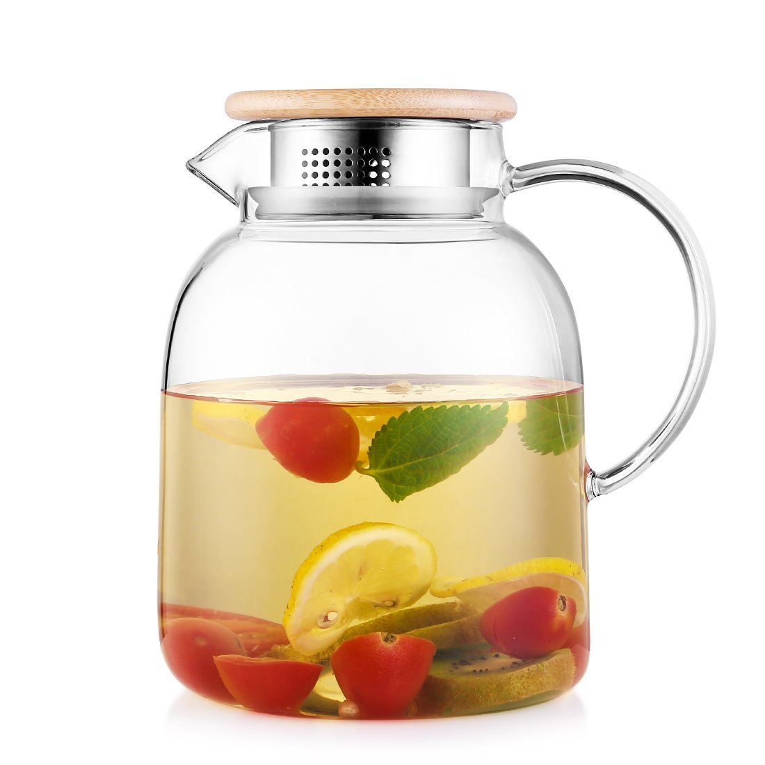 RED MAISON 68 Ounces Large Capacity Borosilicate Glass Water Pitcher with Lid, Glass Water Jug for Hot or Cold Water, Ice Tea and Juice Beverage (2000ml) (68oz with bamboo lid)