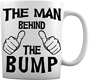 The Man Behind The Bump Funny Coffee Mug | Great Mug Gift for Dad to Be and Pregnant Dads, Baby on the Way | Funny 11 Ounce White Coffee Mug by Hot Ass Tees