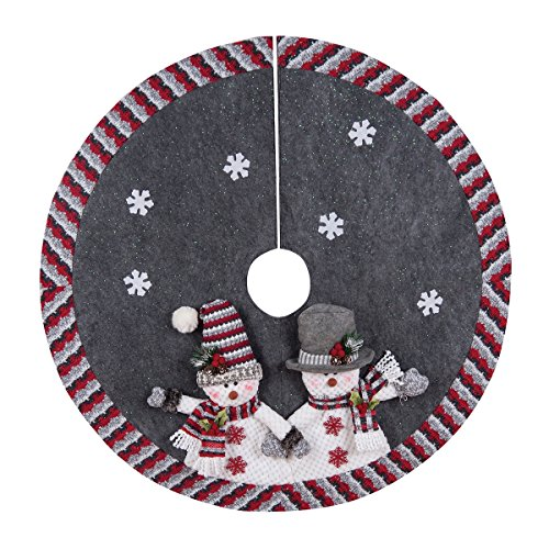GALLERIE II Christmas Tree Skirt – Xmas Decorative Treeskirt in Festive Holiday Designs, Snowman and Snowflakes Illustration, 42 inches
