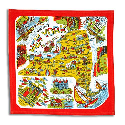 The Red & White Kitchen Co. New York State 50s Style Cotton Flour Sack Souvenir Towel 22 x 22,Red with White, yellow, blue
