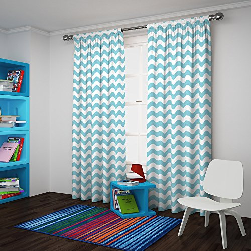 Eclipse My Scene Thermaback Blackout Wavy Chevron Window Curtain Panel, 42X84, Pool ()