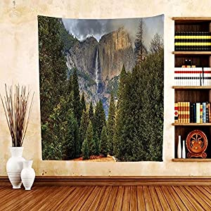 Gzhihine Custom tapestry Farm House Decor Tapestry Bench under Timber Tree by Riverside Epic Countryside Rural Relaxing Resting Space Scenery Bedroom Living Room Dorm Decor 60 x 80 Green