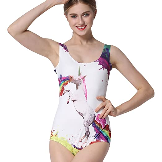 cdac75a1e8f One Piece Ravewear Bodysuit Sexy Sleeveless Unicorn Leotard Stretchy Romper  Swimsuit (XL