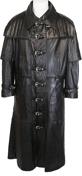 UNICORN Hombres Genuino real cuero chaqueta Gótico Abrigo largo longitud Negro #C4: Amazon.es: Ropa y accesorios