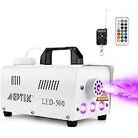 AGPTek Máquina de niebla automática con efectos de luz LED de colores, mando a distancia inalámbrico y con cable con…